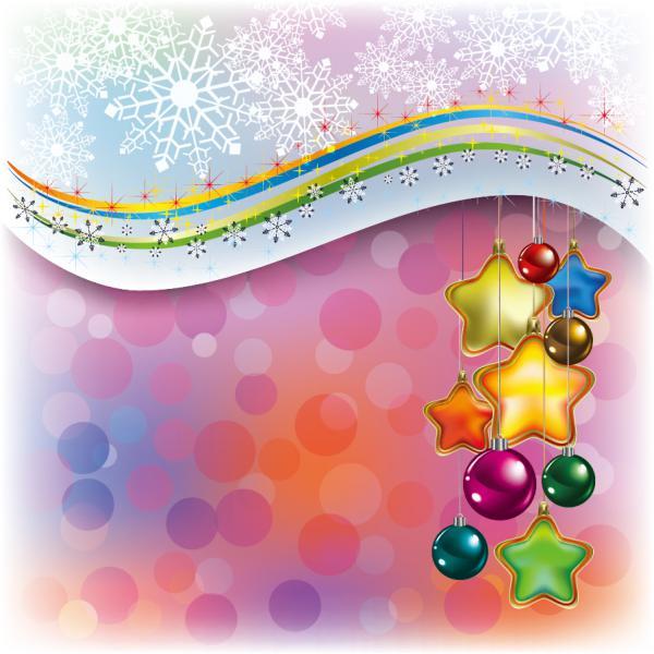 ハンギングボールと雪の背景 beautiful christmas decoration element