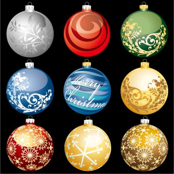 お洒落なクリスマス ボール bright christmas ball vector