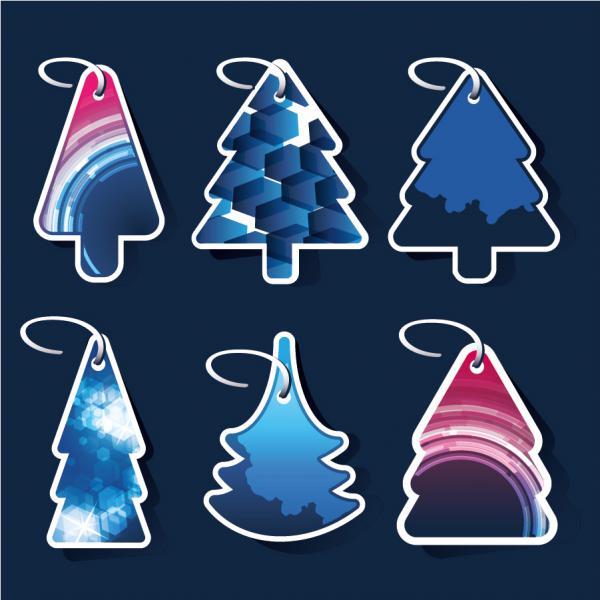 クリスマス・ツリーを型どったラベル beautiful christmas tree label