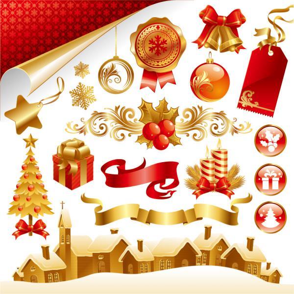 クリスマス素材と雪だるま beautiful christmas element, snowman1