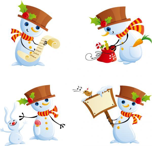 クリスマス素材と雪だるま beautiful christmas element, snowman4
