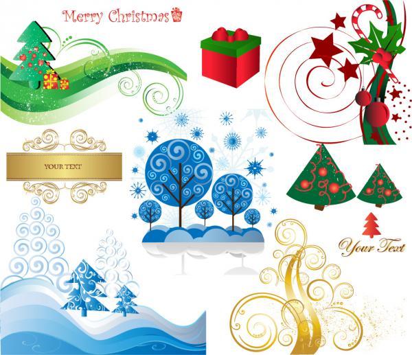 クリスマス素材と雪だるま beautiful christmas element, snowman3