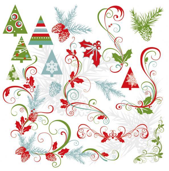 クリスマス素材と雪だるま beautiful christmas element, snowman2