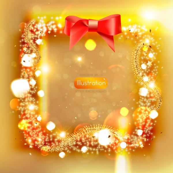 リボン飾りの輝くボーダー dream christmas Border vector