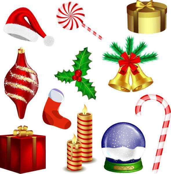 クリスマス用品のイラスト christmas vector goods