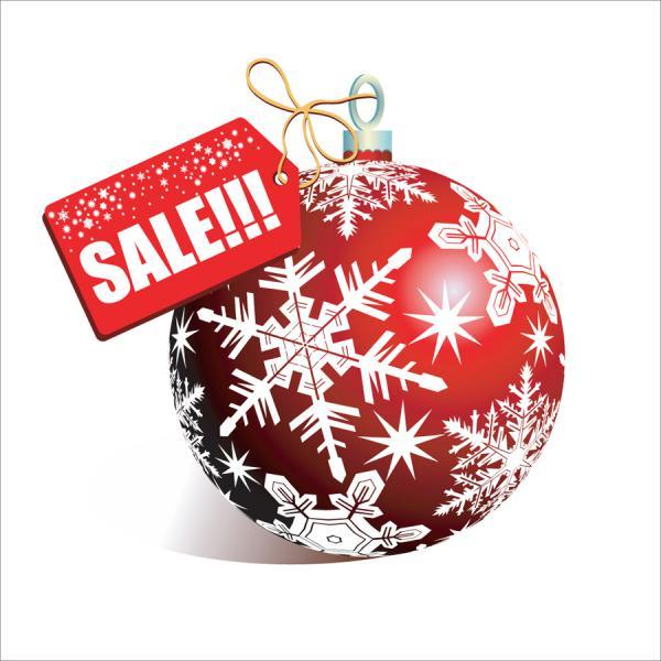 クリスマス・セールを飾るハンギング ボール christmas discount sales vector