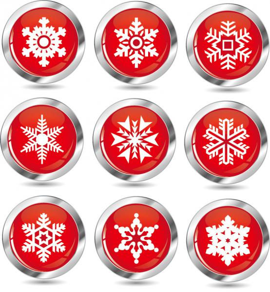雪の結晶のアイコン New Year snow icons