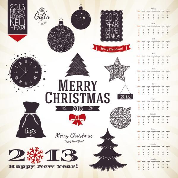 クリスマスと新年のデザイン セット Christmas and New Year design set vector04