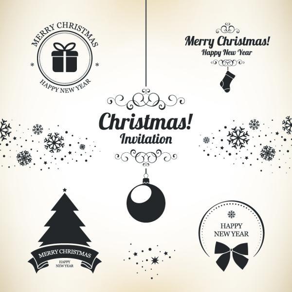 クリスマスと新年のデザイン セット Christmas and New Year design set vector02