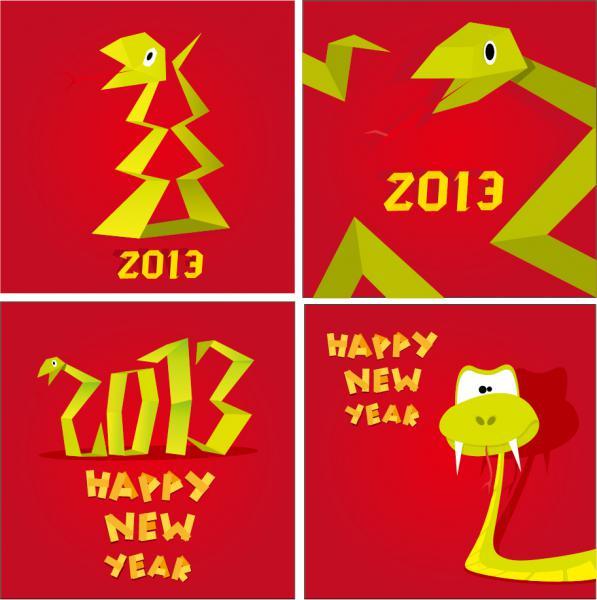 新年・巳年干支の切り絵風ポスター Snake 2013 New Year posters