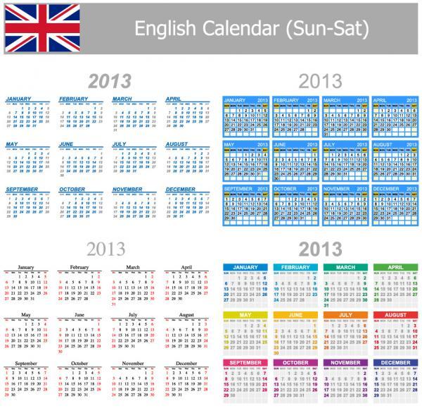 各国語対応カレンダー テンプレート Multilingual 2013 calendar templates4