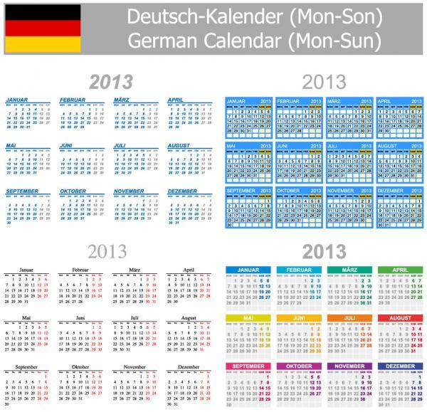 各国語対応カレンダー テンプレート Multilingual 2013 calendar templates2