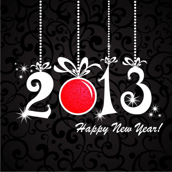2013年の新年を祝うレタリング Happy New Year backgrounds with 2013 lettering1