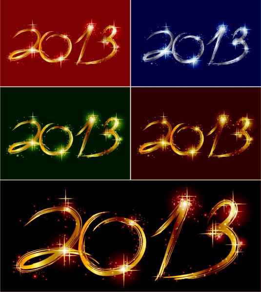 2013年の新年を祝うレタリング Happy New Year backgrounds with 2013 lettering2