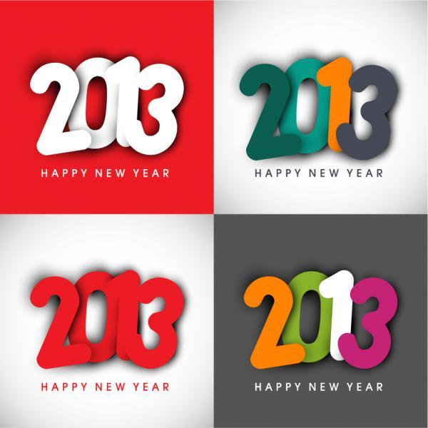 新年の数字を表現した背景 New Year placards and posters with 2013 3