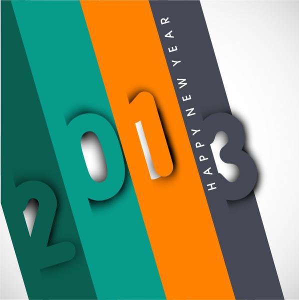 新年の数字を表現した背景 New Year placards and posters with 2013 1