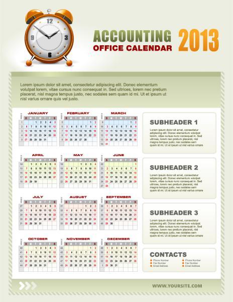 新年のカレンダー テンプレート New Year 2013 calendars vector1