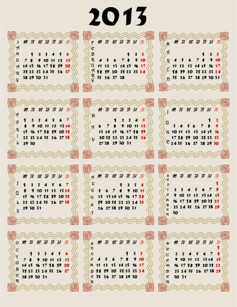 新年のカレンダー テンプレート New Year 2013 calendars vector4