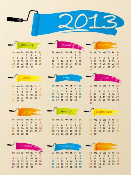 新年のカレンダー テンプレート New Year 2013 calendars vector5