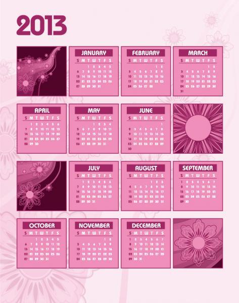 新年のカレンダー テンプレート New Year 2013 calendars vector3