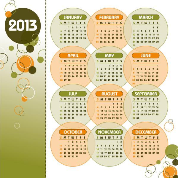 新年のカレンダー テンプレート New Year 2013 calendars vector2
