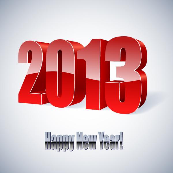 立体的な数字で表す新年のロゴ New Year backgrounds with 2013 logo3
