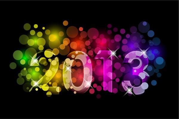 立体的な数字で表す新年のロゴ New Year backgrounds with 2013 logo1