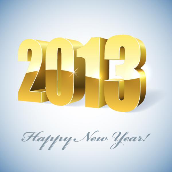 立体的な数字で表す新年のロゴ New Year backgrounds with 2013 logo4
