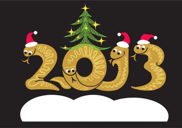 新年の数字を干支のへびで描いたイラスト 2013 snake illustrations in cartoonish style1