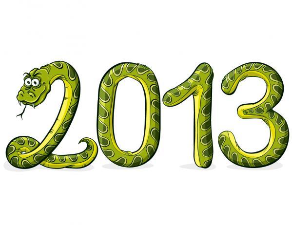 新年の数字を干支のへびで描いたイラスト 2013 snake illustrations in cartoonish style4