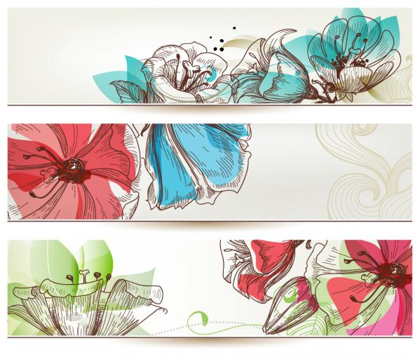 美しい花でデザインされたバナー banners designs with beautiful stylized flower illustrations(3)