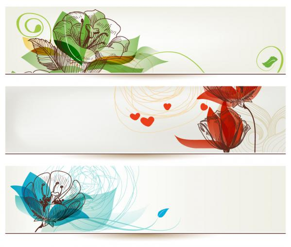美しい花でデザインされたバナー banners designs with beautiful stylized flower illustrations(4)