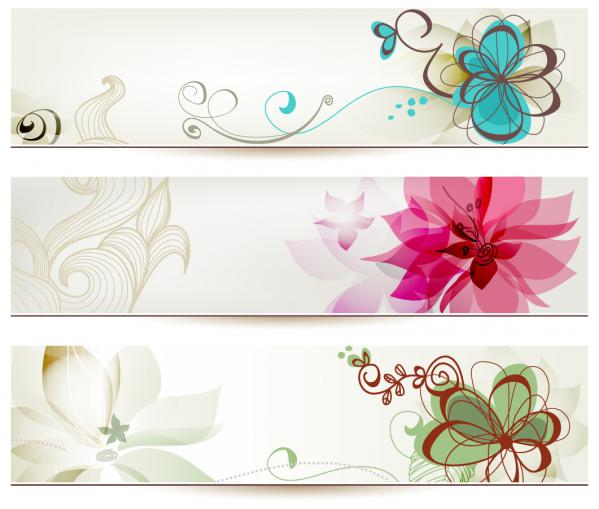 美しい花でデザインされたバナー banners designs with beautiful stylized flower illustrations(2)
