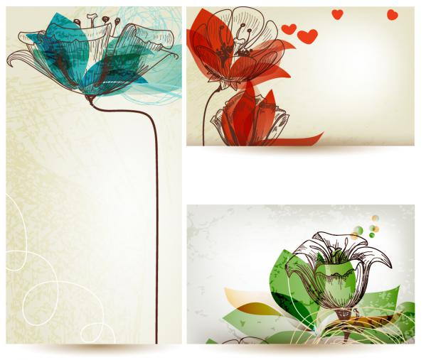 美しい花でデザインされたバナー banners designs with beautiful stylized flower illustrations(5)