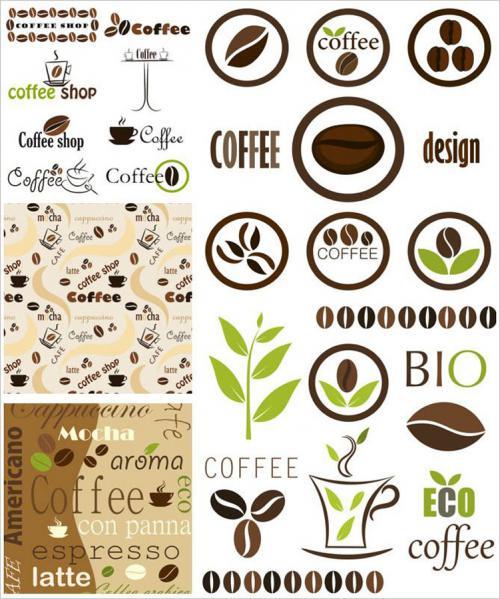 コーヒーをデザインしたラベルと背景 coffee logotype templates, coffee labels and backgrounds