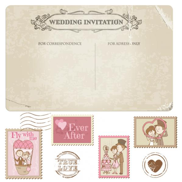 結婚式の招待状デザイン セット wedding invitation design elements in cartoon style02