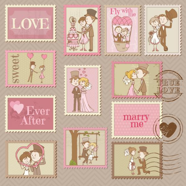 結婚式の招待状デザイン セット wedding invitation design elements in cartoon style01