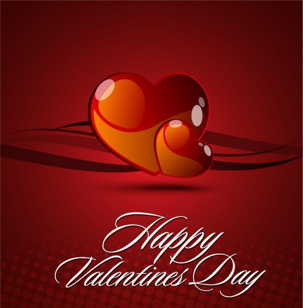 ハートのバレンタインデー カード テンプレート Heart valentine day card vector1