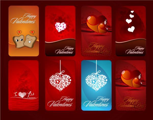 ハートのバレンタインデー カード テンプレート Heart valentine day card vector2