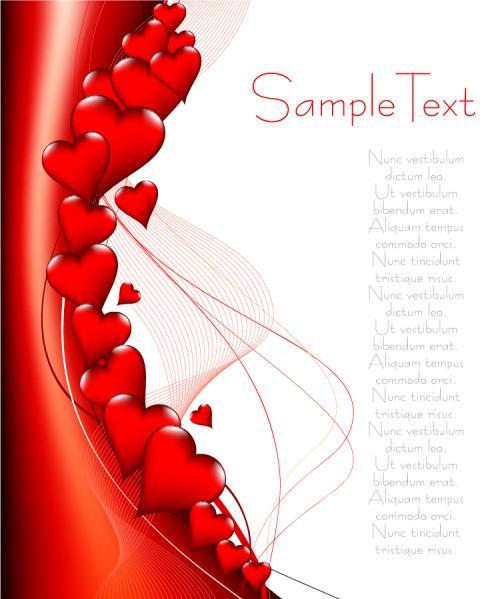 ハートで飾り付けたバレンタインデーの背景 Heart valentine day vector elements1