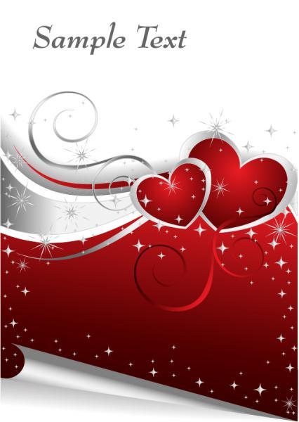 ハートで飾り付けたバレンタインデーの背景 Heart valentine day vector elements2