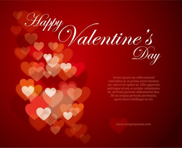 ハートで飾るバレンタインデーの背景 Heart-shaped happy valentines day2