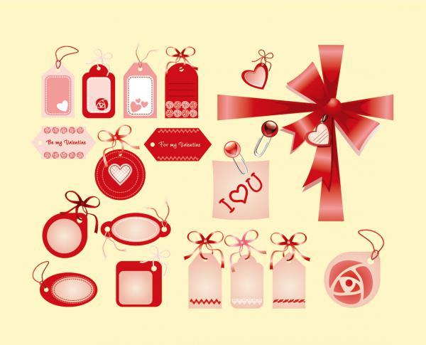 バレンタインデー向けクリップアート Heart Valentine Love Tags clip art