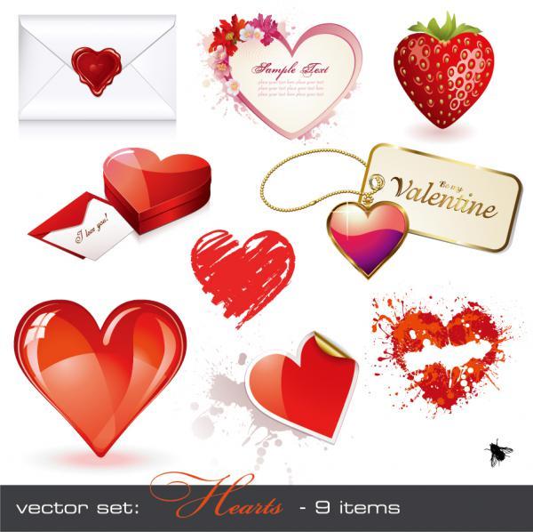 ロマンチックなハート型素材 romantic heartshaped vector