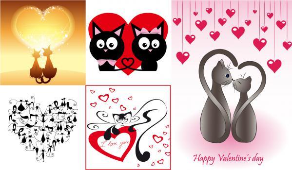 愛しいハートと猫のイラスト Heart cat love vector