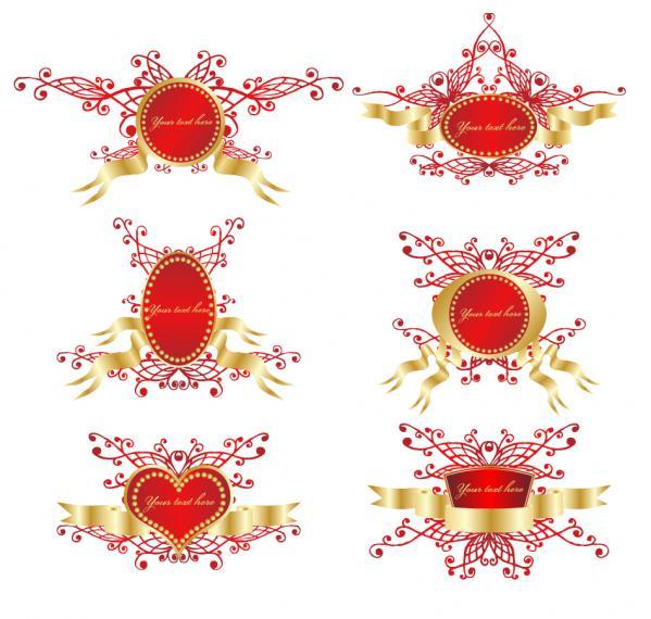 盾のバッジを飾るお洒落なリボン romantic ribbon vector shield badge