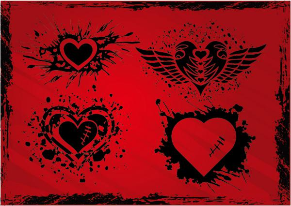 グランジデザインのハートの背景 Grunge Hearts clip art