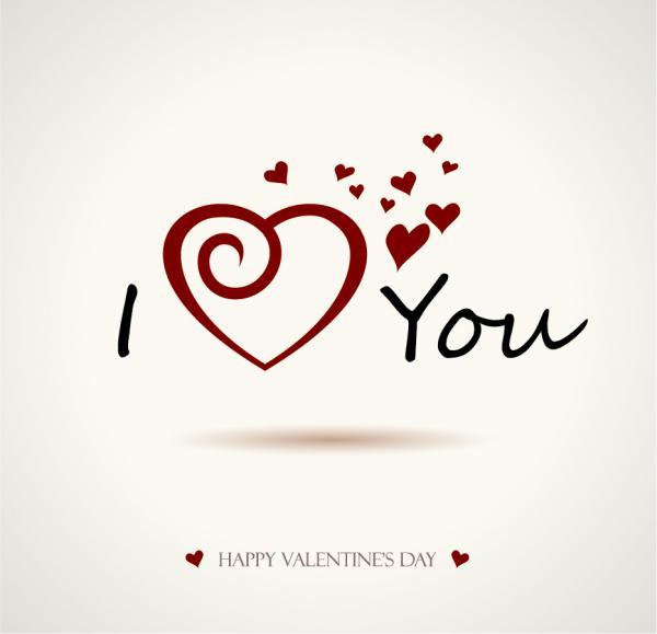 文字で飾るバレンタインデーの背景 Heart valentine day wordart graphics vector4