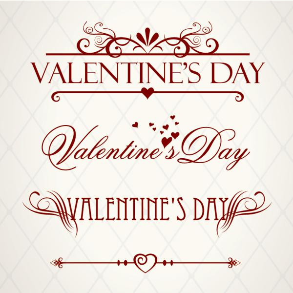 文字で飾るバレンタインデーの背景 Heart valentine day wordart graphics vector3