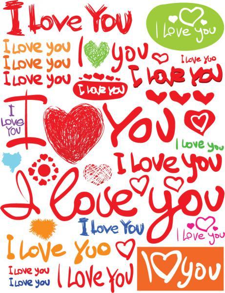 バレンタインデー 手書きフォントのクリップアート valentine day clip art handpainted english fonts
